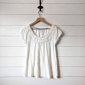 Anthropologie DELETTA White Flowy Cotton Tee L